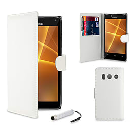 Huawei Ascend Y550 Stylish PU leather case - White Mobile phones