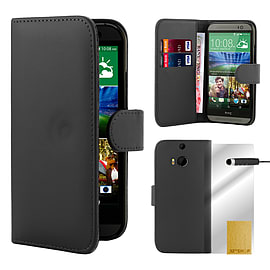 HTC One M8 Stylish Pu leather book case - Black Mobile phones