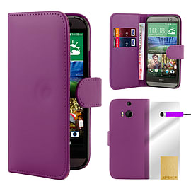 HTC One M8 Stylish Pu leather book case - Purple Mobile phones