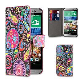 HTC One M8 Pu leather design book case - Jellyfish Mobile phones