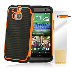 HTC One M8 Dual layer shockproof case - Orange Mobile phones