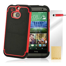HTC One M8 Dual layer shockproof case - Red Mobile phones