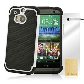 HTC One M8 Dual layer shockproof case - White Mobile phones