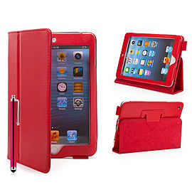 iPad Mini PU Leather Book Case - Red Tablet