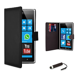 Nokia Lumia 520 Stylish PU leather wallet case - Black Mobile phones