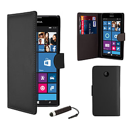 Nokia Lumia 630 Stylish PU leather wallet case - Black Mobile phones