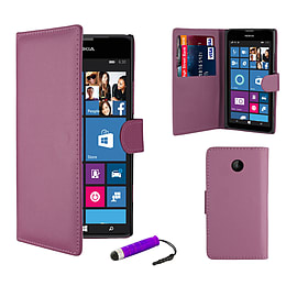 Nokia Lumia 630 Stylish PU leather wallet case - Purple Mobile phones