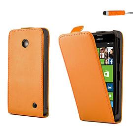 Nokia Lumia 630 Stylish PU leather flip case - Orange Mobile phones