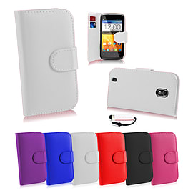 ZTE Blade L2 Stylish PU leather case - White Mobile phones