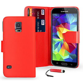 Samsung Galaxy S5 Stylish PU leather wallet case - Red Mobile phones