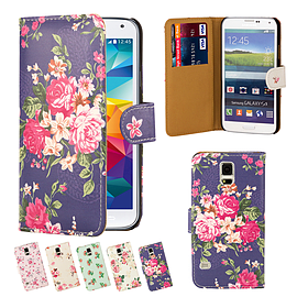 Samsung Galaxy S5 PU leather floral design book case - Indigo Mobile phones