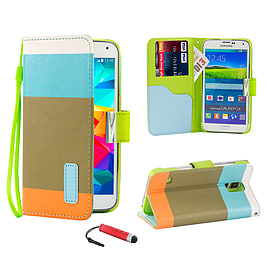 Samsung Galaxy S5 PU leather multi-stripe case - Light Blue Mobile phones