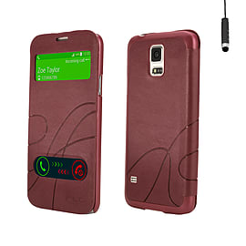 Samsung Galaxy S5 Ultra slim S-View case - Red Mobile phones