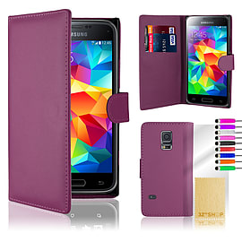 Samsung Galaxy S5 Mini Stylish PU leather wallet case - Purple Mobile phones