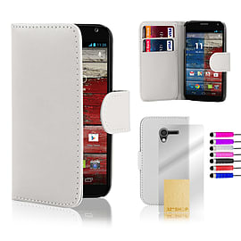 Motorola Moto X Stylish PU leather wallet case - White Mobile phones
