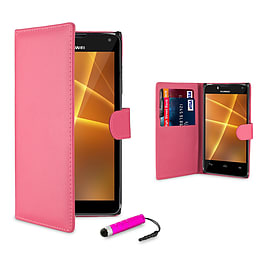 Huawei Ascend P6 Stylish PU leather case - Hot Pink Mobile phones