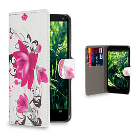 Huawei Ascend P6 Stylish Design PU leather case - Purple Rose Mobile phones
