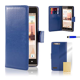 Huawei Ascend G6 (3G) Stylish PU leather case - Deep Blue Mobile phones