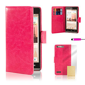 Huawei Ascend G6 (3G) Stylish PU leather case - Hot Pink Mobile phones