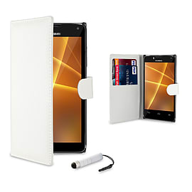 Huawei Ascend P7 Mini Stylish PU leather book case - White Mobile phones