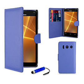 Huawei Ascend Y300 Stylish PU leather case - Deep Blue Mobile phones