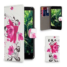 Huawei Ascend Y300 Stylish Design PU leather case - Purple Rose Mobile phones