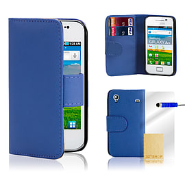 Samsung Galaxy Ace 4 G313 Stylish PU leather wallet case - Deep Blue Mobile phones