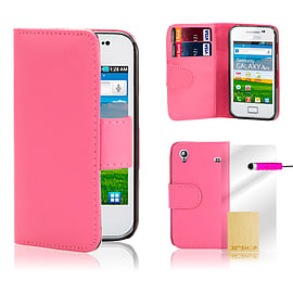 Samsung Galaxy Ace 4 G357 Stylish PU leather wallet case - Hot Pink Mobile phones