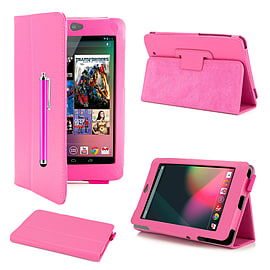 Google Nexus 7 Stylish PU leather book case - Hot Pink Mobile phones