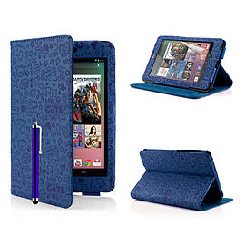 Google Nexus 7 Cute Love PU leather book case - Deep Blue Mobile phones