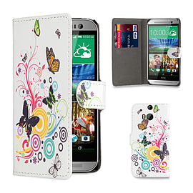 HTC One M8 Pu leather design book case - Colour Butterfly Mobile phones