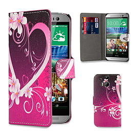 HTC One M8 Pu leather design book case - Love Heart Mobile phones