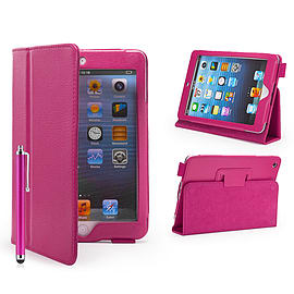 iPad Mini PU Leather Book Case - Hot Pink Tablet