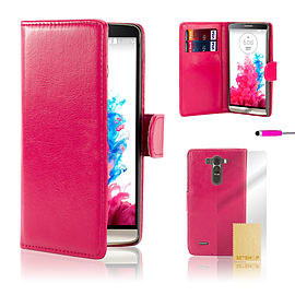 LG G3 Stylish PU Leather Case - Hot Pink Mobile phones