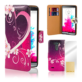 LG G3 Stylish PU Leather Design Case - Love Heart Mobile phones