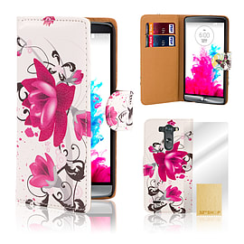 LG G3 Stylish PU Leather Design Case - Purple Rose Mobile phones