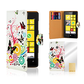 Nokia Lumia 520 PU leather design book case - Colour Butterfly Mobile phones