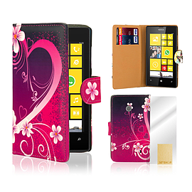Nokia Lumia 520 PU leather design book case - Love Heart Mobile phones