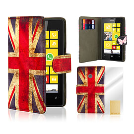 Nokia Lumia 520 PU leather design book case - Union Jack Mobile phones