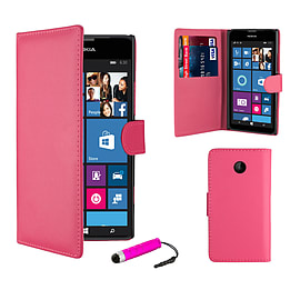 Nokia Lumia 630 Stylish PU leather wallet case - Hot Pink Mobile phones