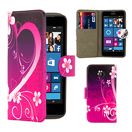Nokia Lumia 630 PU leather design book case - Love Heart Mobile phones