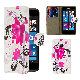 Nokia Lumia 630 PU leather design book case - Purple Rose Mobile phones