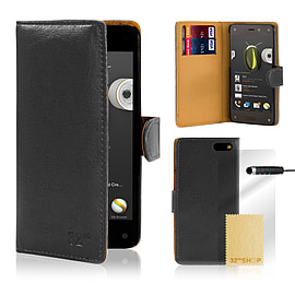Amazon Fire Phone Stylish PU leather wallet case - Black Mobile phones