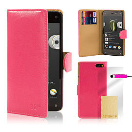 Amazon Fire Phone Stylish PU leather wallet case - Hot Pink Mobile phones