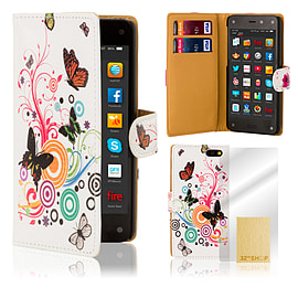 Amazon Fire Phone PU leather design book case - Colour Butterfly Mobile phones