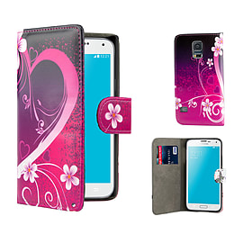 Samsung Galaxy S5 PU leather design book case - Love Heart Mobile phones