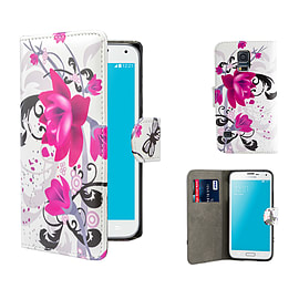 Samsung Galaxy S5 PU leather design book case - Purple Rose Mobile phones