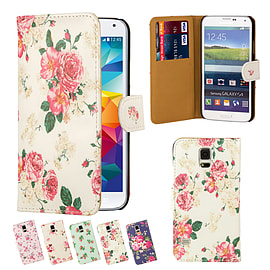Samsung Galaxy S5 PU leather floral design book case - Hot Pink Mobile phones