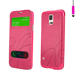 Samsung Galaxy S5 Ultra slim S-View case - Hot Pink Mobile phones