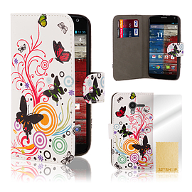 Motorola Moto X PU leather design book case - Colour Butterfly Mobile phones